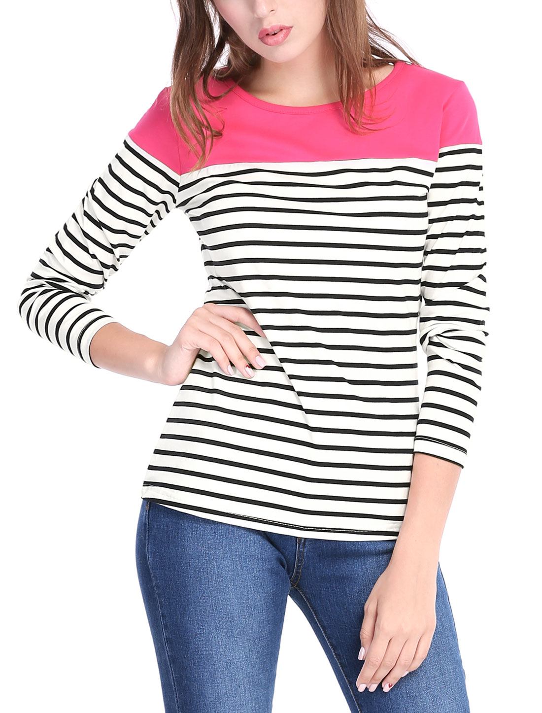Women Long Sleeves Round Neck Stripes Stretch T-Shirt Black S