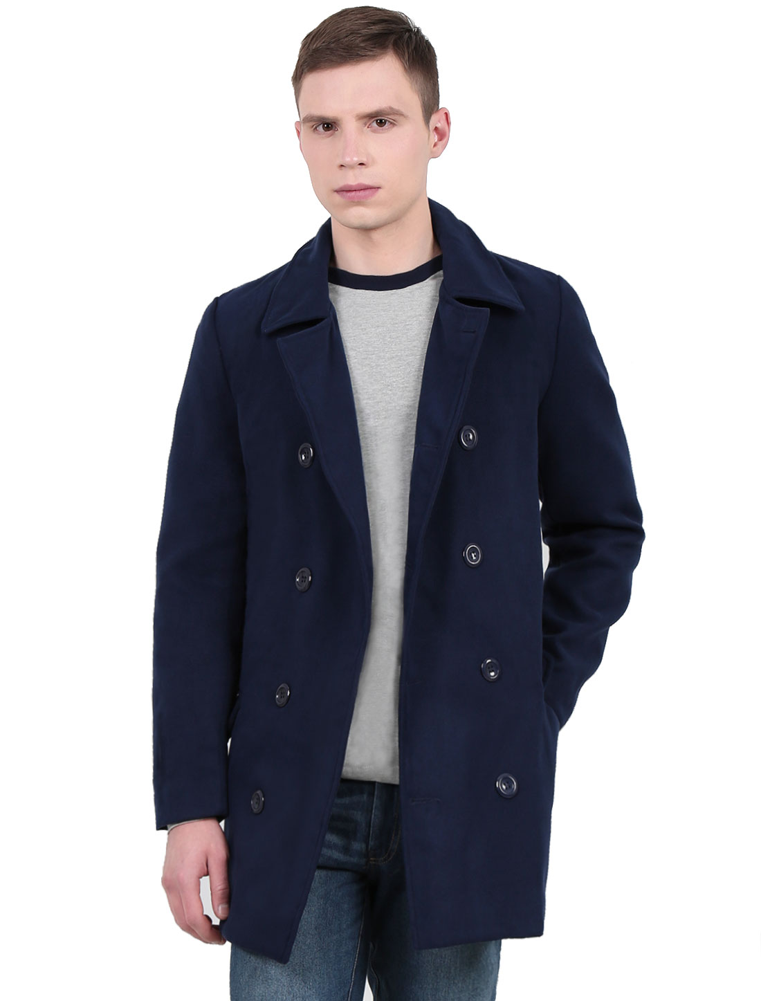 Men Double-Breasted Slim Fit Casual Coats Navy Blue S
