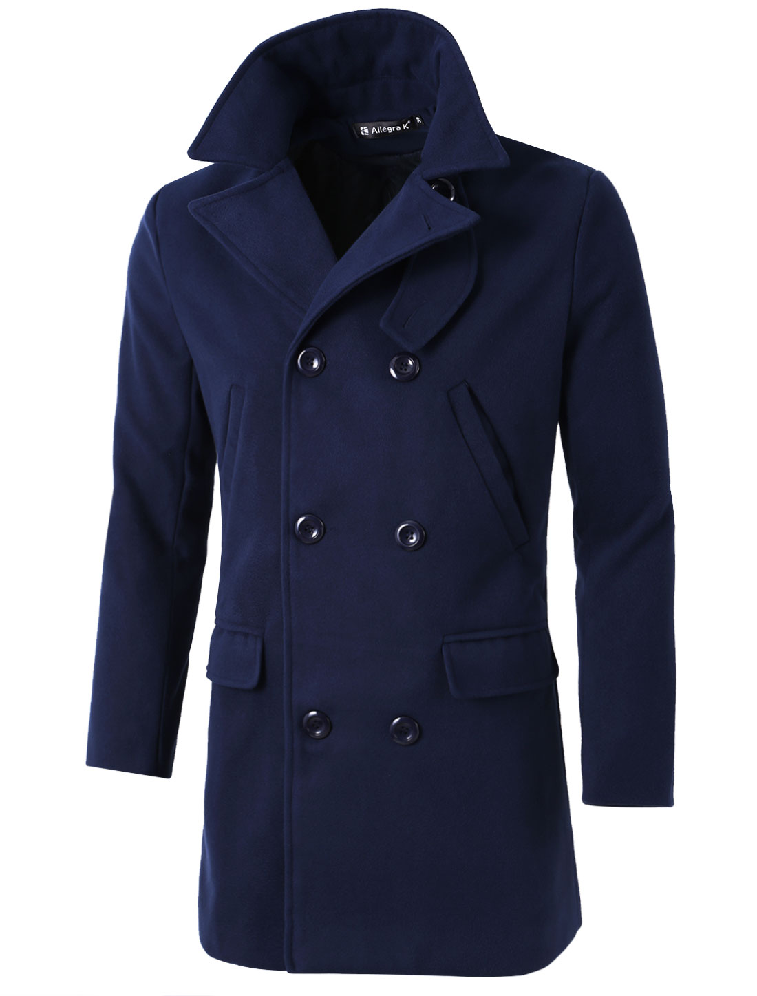 Men Notched Lapel Double Breasted Longline Worsted Coat Blue S