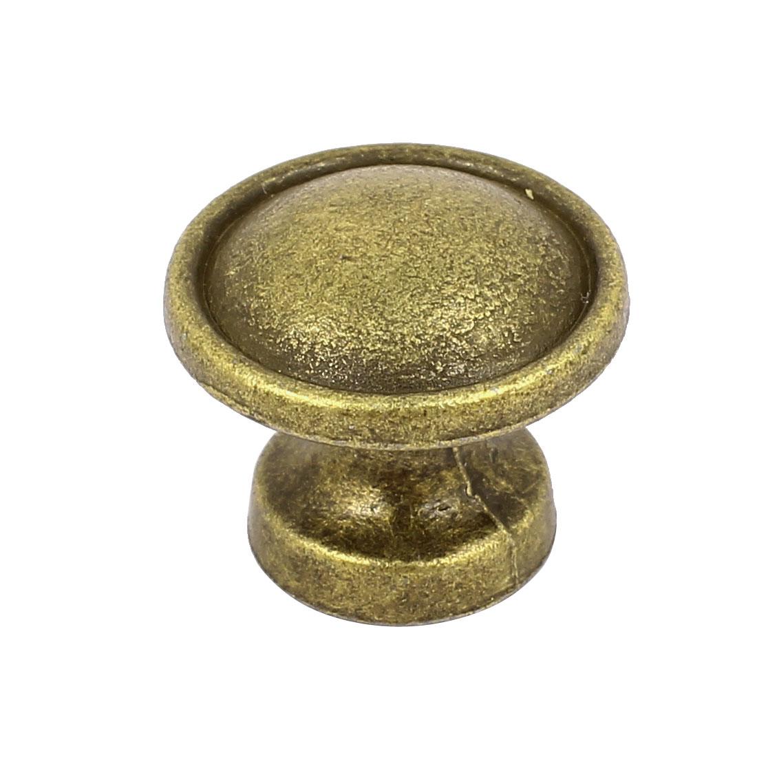 Cupboard Cabinet Door Zinc Alloy Round Shape Screw Type Pull Knob Bronze Tone