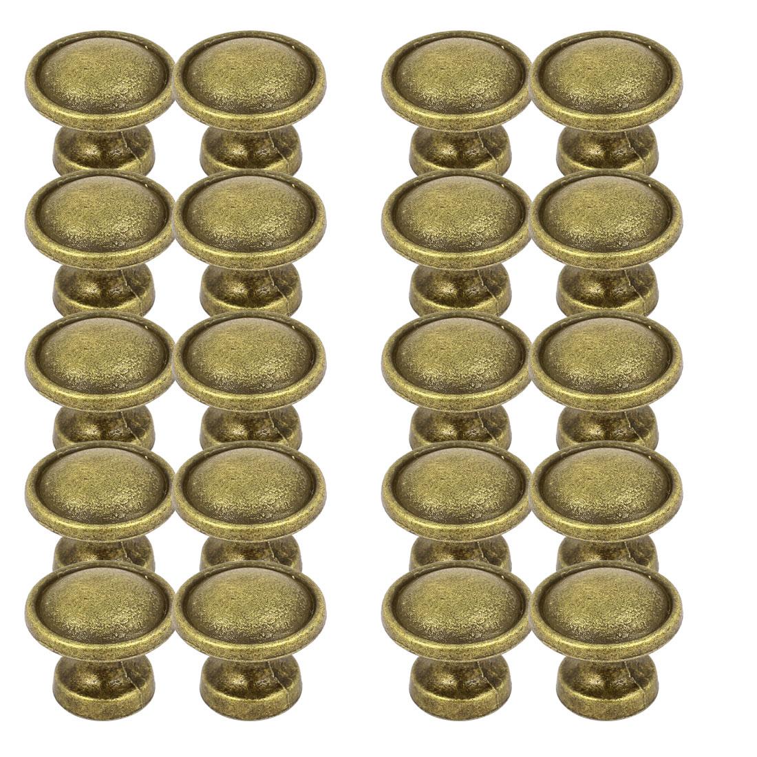 Cupboard Cabinet Zinc Alloy Round Shape Screw Type Pull Knob Bronze Tone 20pcs