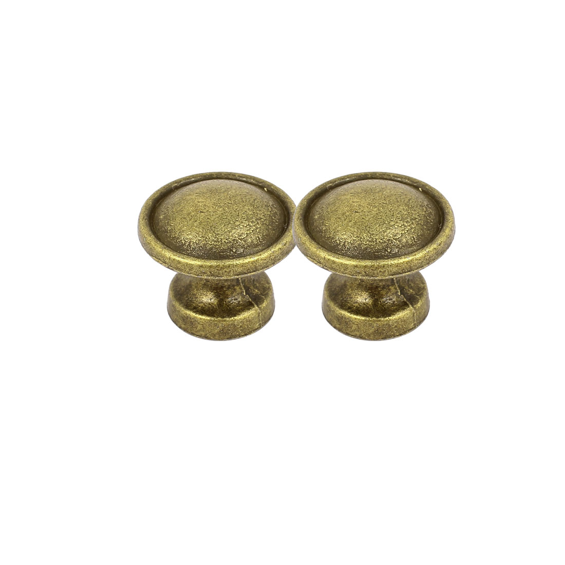 Cupboard Cabinet Zinc Alloy Round Shape Screw Type Pull Knob Bronze Tone 2pcs