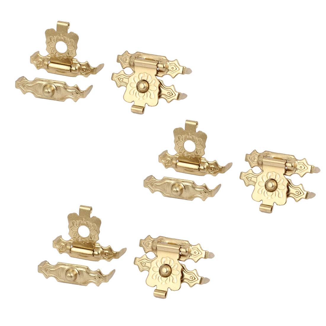 Box Wooden Case Metal Hasp Hook Lock Lid Latch Catch Gold Tone 6pcs