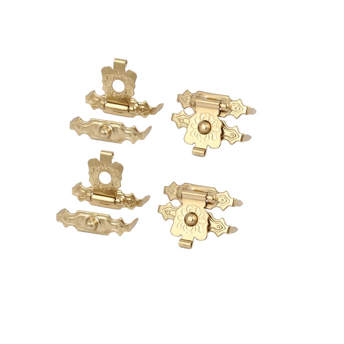 Box Wooden Case Metal Hasp Hook Lock Lid Latch Catch Gold Tone 4pcs