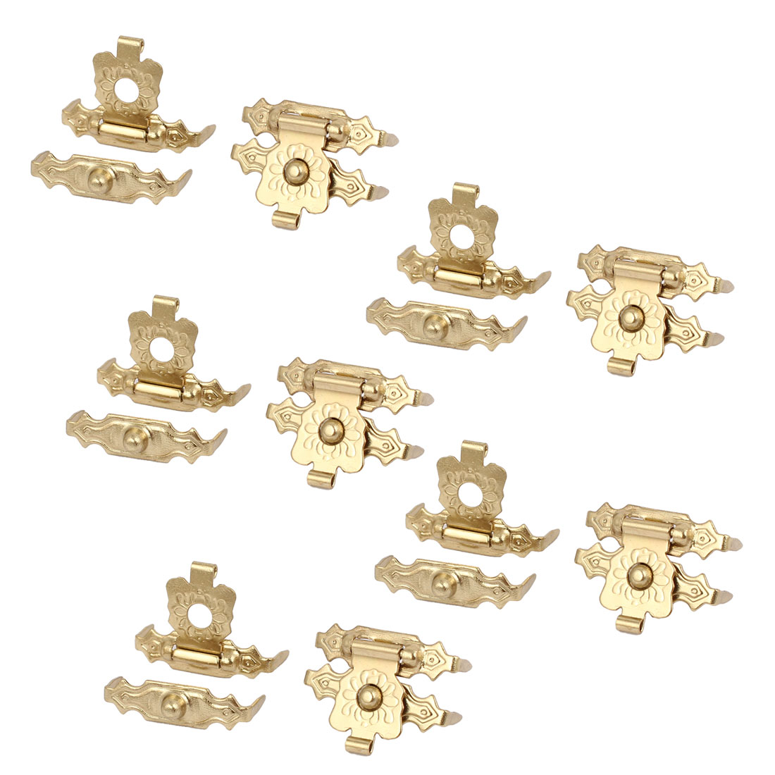 Box Wooden Case Metal Hasp Hook Lock Lid Latch Catch Gold Tone 10pcs