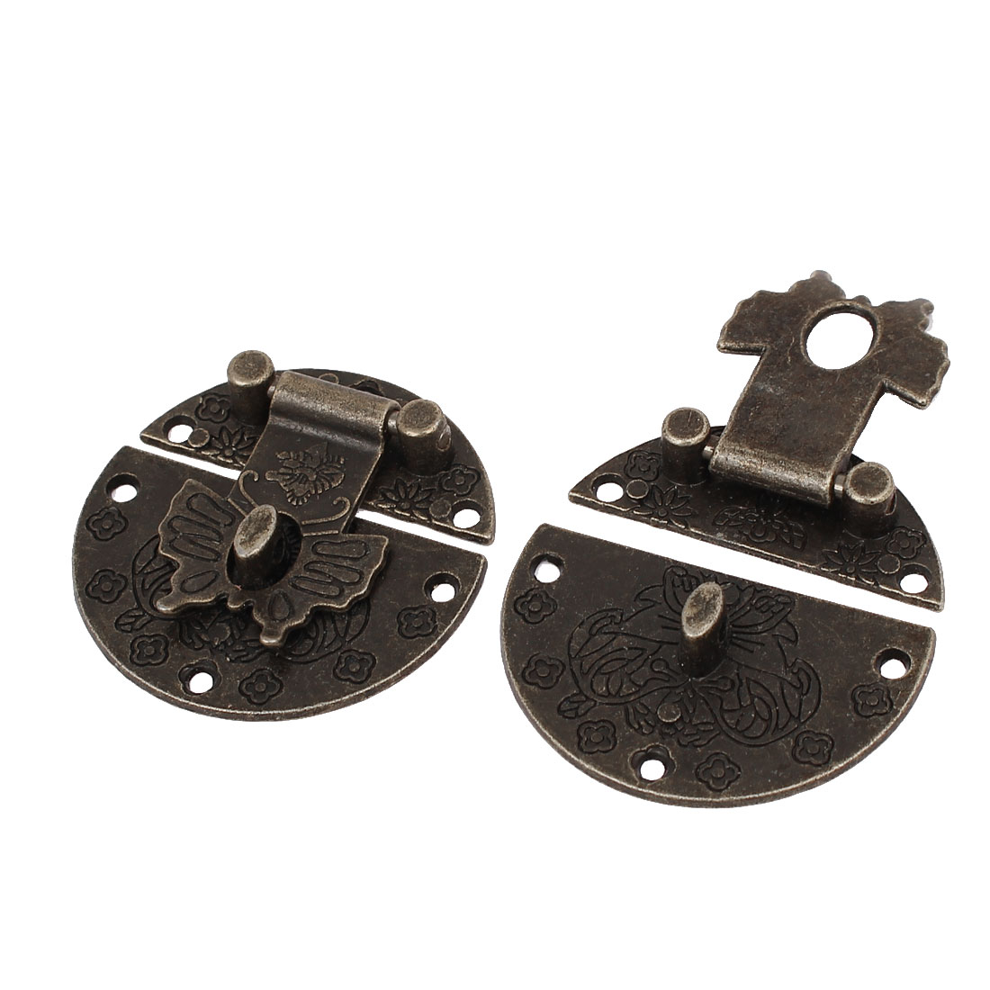 Box Suitcase Antique Style Butterfly Design Toggle Latch Catch Hasp Lock 2pcs