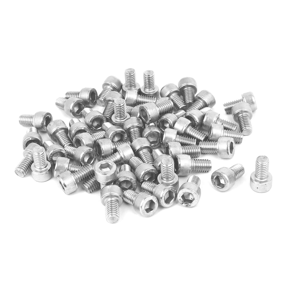 M6 x 10mm Thread 304 Stainless Steel Hex Socket Head Cap Screw Bolt DIN912 55pcs