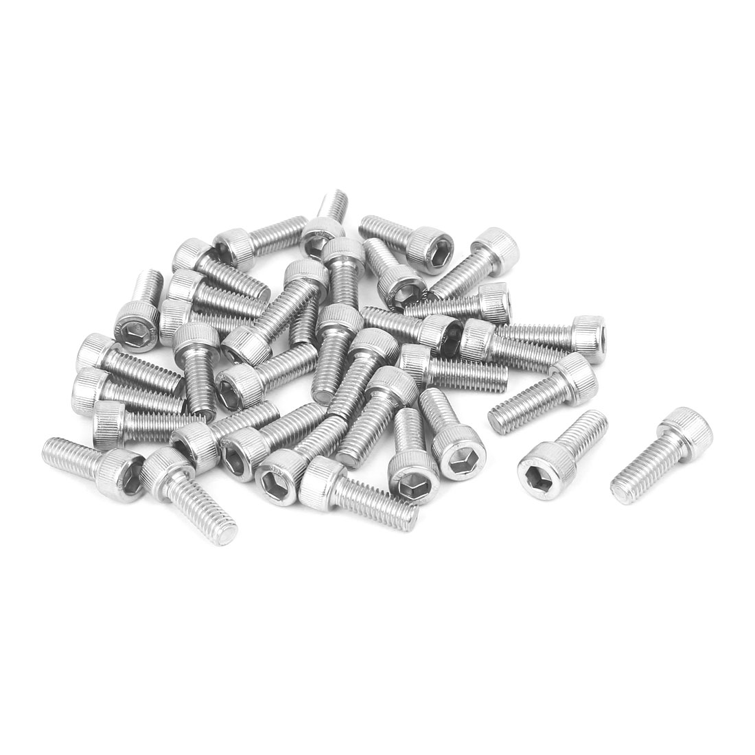 M6 x 16mm Thread 304 Stainless Steel Hex Socket Head Cap Screw Bolt DIN912 36pcs