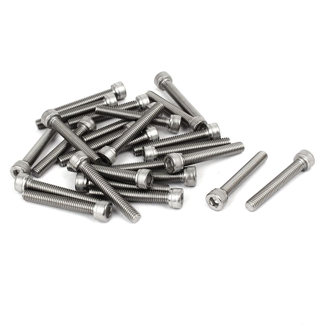 M6 x 40mm Thread 304 Stainless Steel Hex Socket Head Cap Screw Bolt DIN912 26pcs