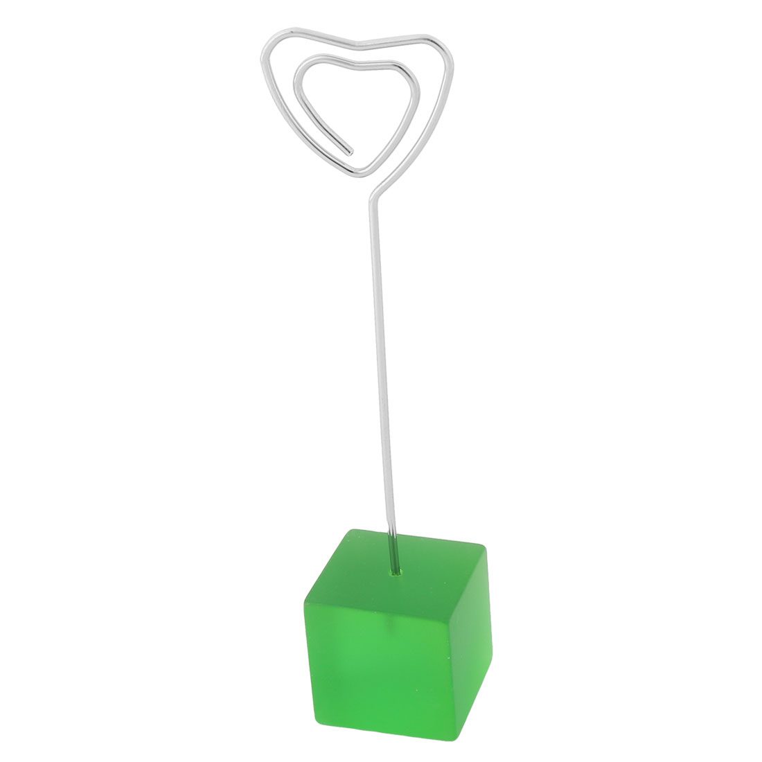 Household Office Resin Cube Shaped Base Decorative Note Paper Memo Clip Green