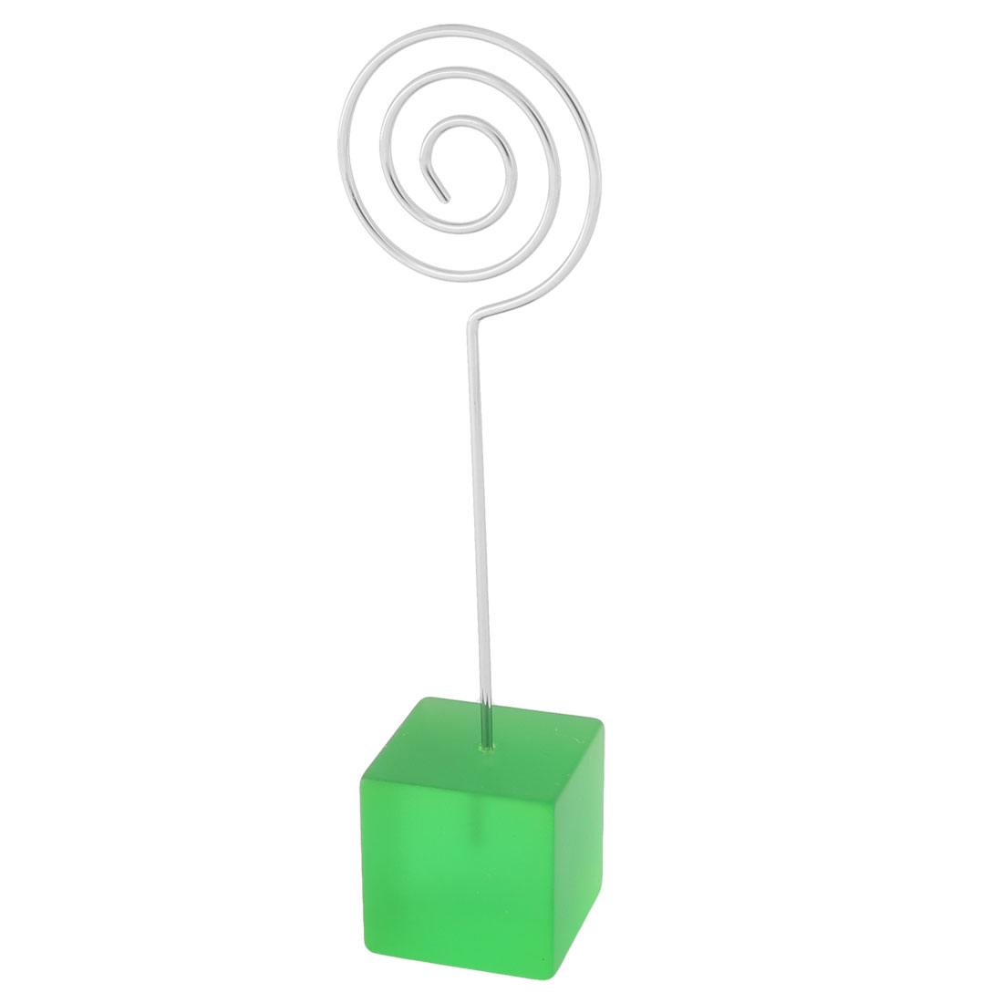 Wedding Office Resin Cube Shaped Base Decorative Note Postcard Tags Memo Clip Green