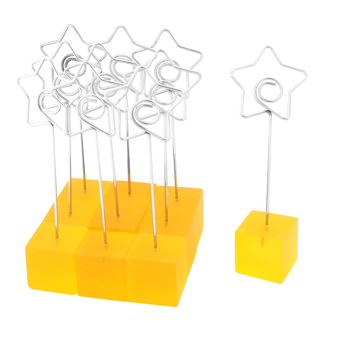 Household Cube Shaped Base Star Design Clamp Note Paper Memo Clip Yellow 10 PCS