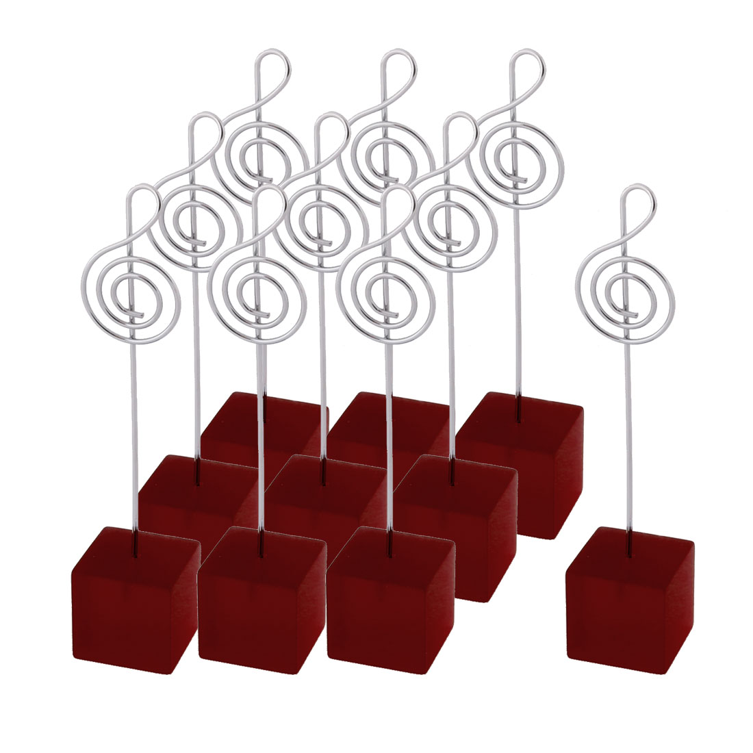 Wedding Party Resin Musical Note Shaped Tabletop Decor Photo Memo Clip Red 10 Pcs