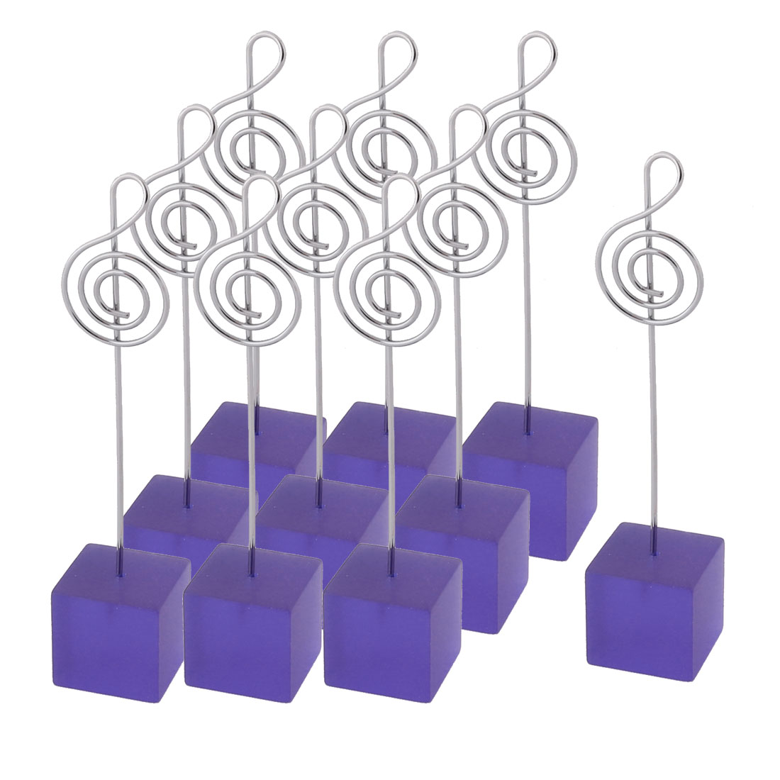 Wedding Party Resin Musical Note Shaped Tabletop Decor Photo Memo Clip Purple 10 Pcs