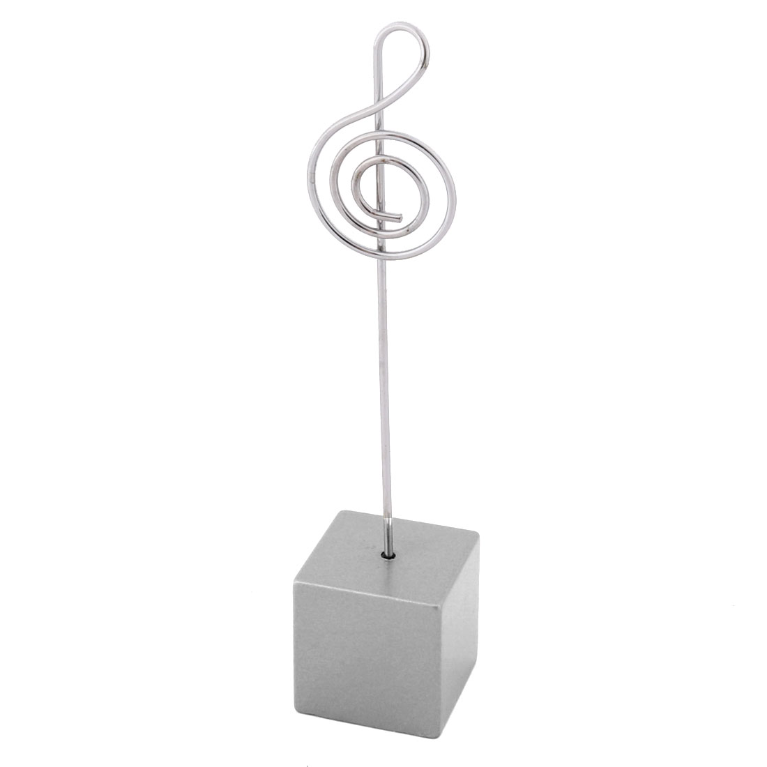Home Office Resin Musical Note Shaped Tabletop Decor Photo Memo Clip Silver Tone