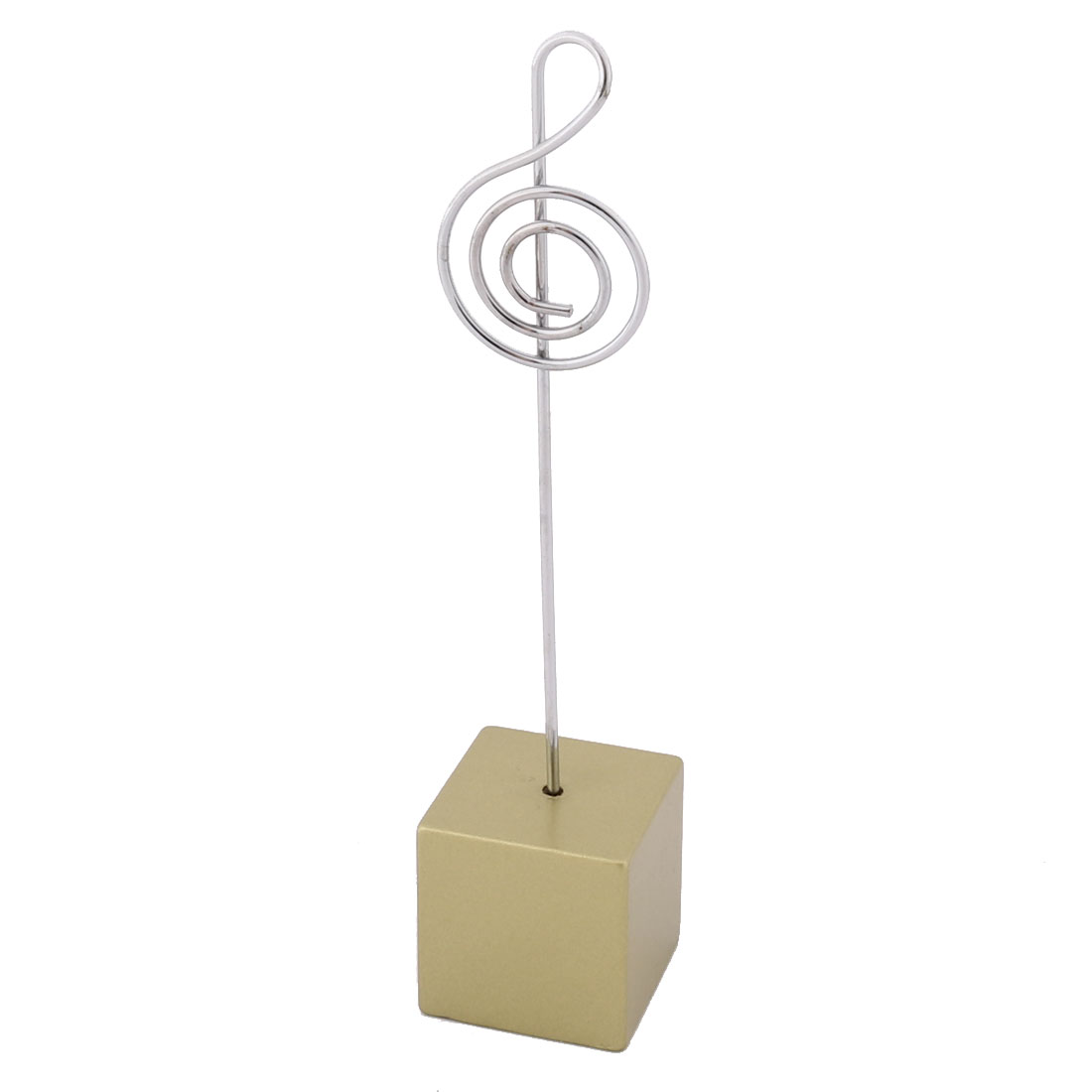 Household Office Resin Musical Note Shaped Table Decor Photo Memo Clip Gold Tone