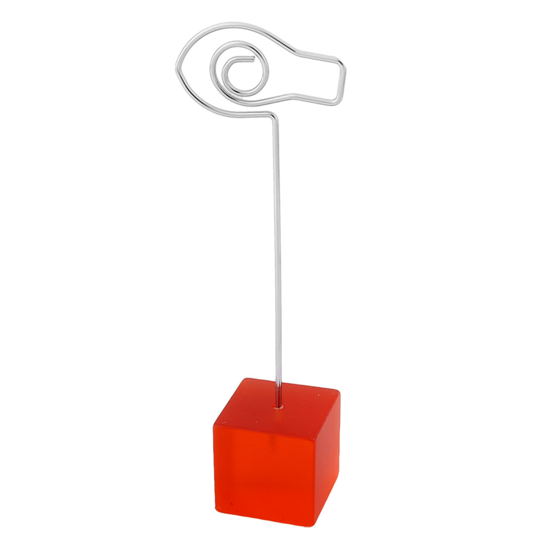 Office Resin Cube Shaped Base Fish Design Clamp Note Photos Paper Memo Clip Red