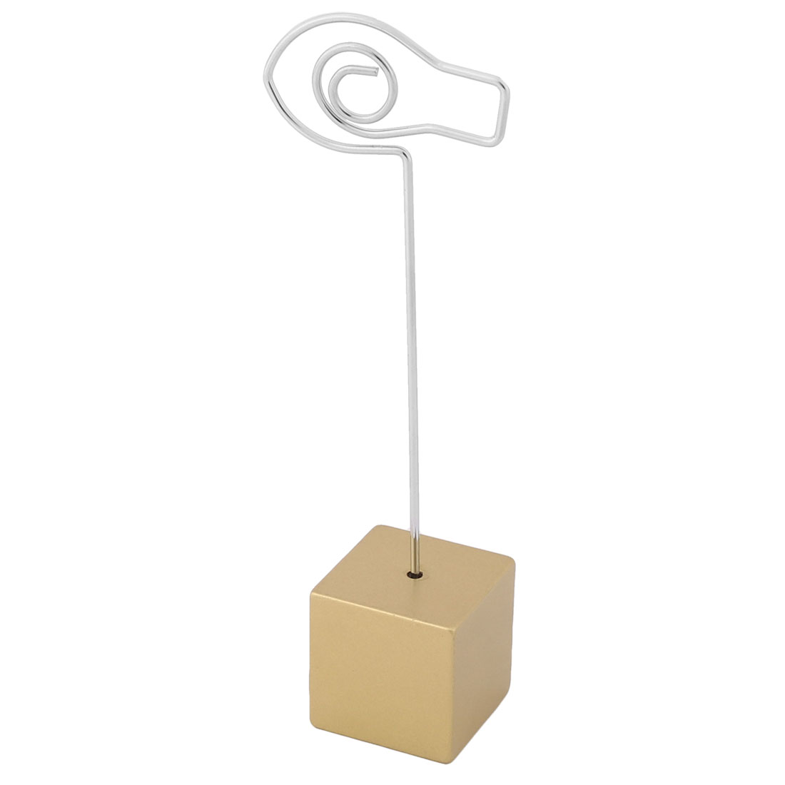Office Resin Cube Shaped Base Fish Design Clamp Note Paper Memo Clip Gold Tone