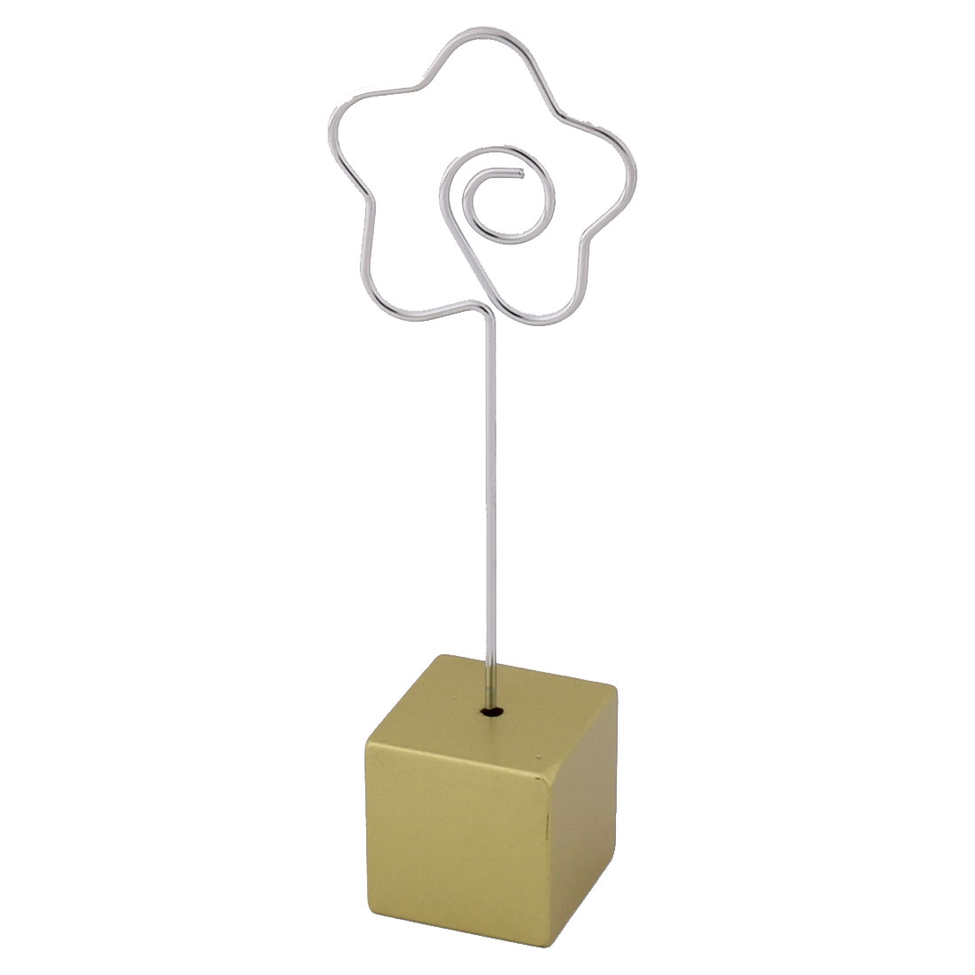 Birthday Party Resin Flower Shaped Table Decor Photo Picture Memo Clip Gold Tone