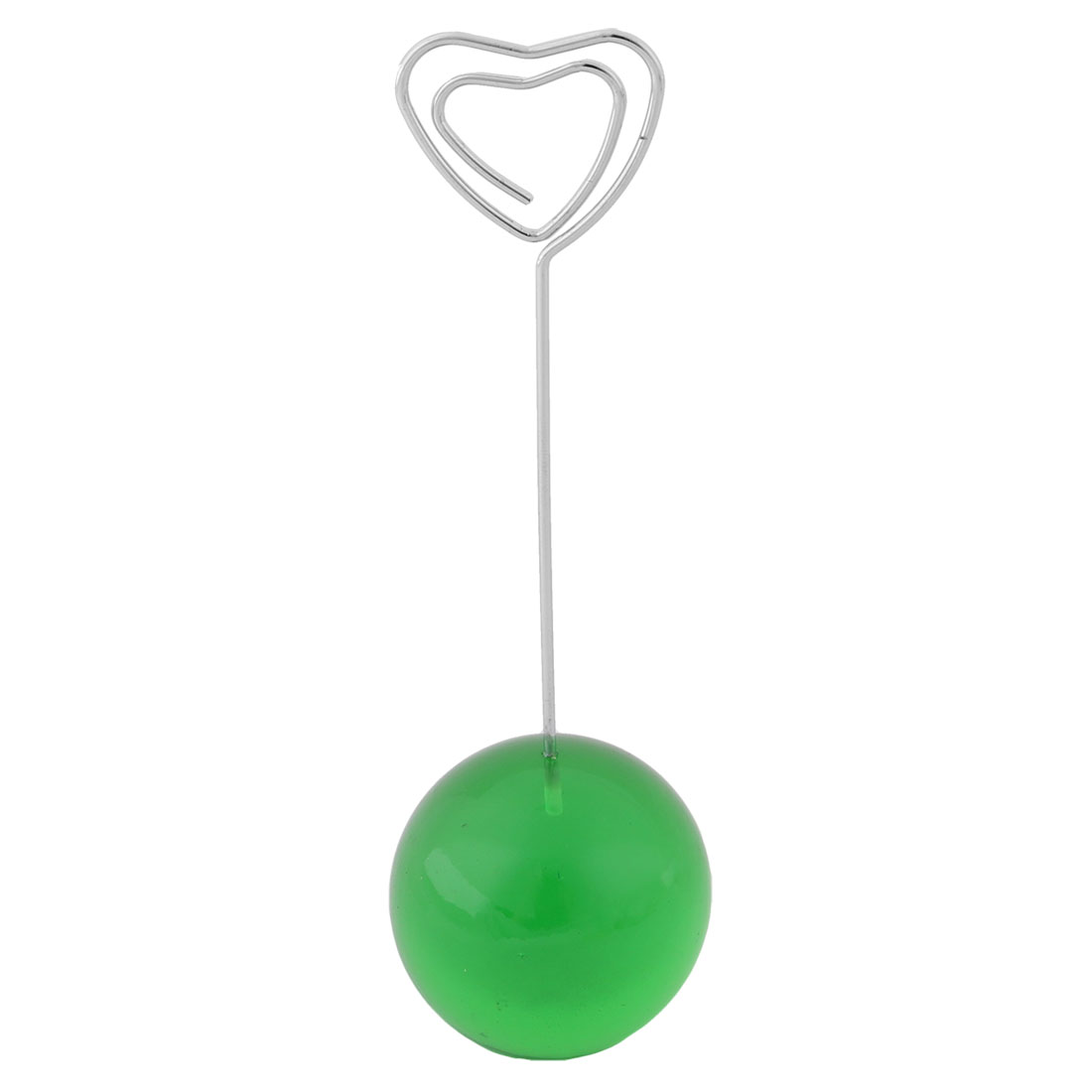 Office Desktop Ball Shaped Base Heart Design Clamp Note Photo Memo Clip Green