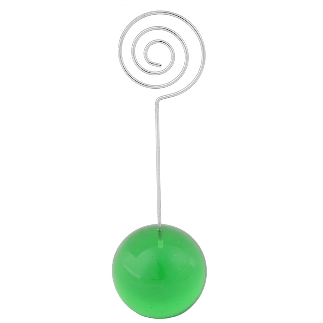 Office Desktop Ball Shaped Spiral Design Clamps Tag Photos Paper Memo Clip Green