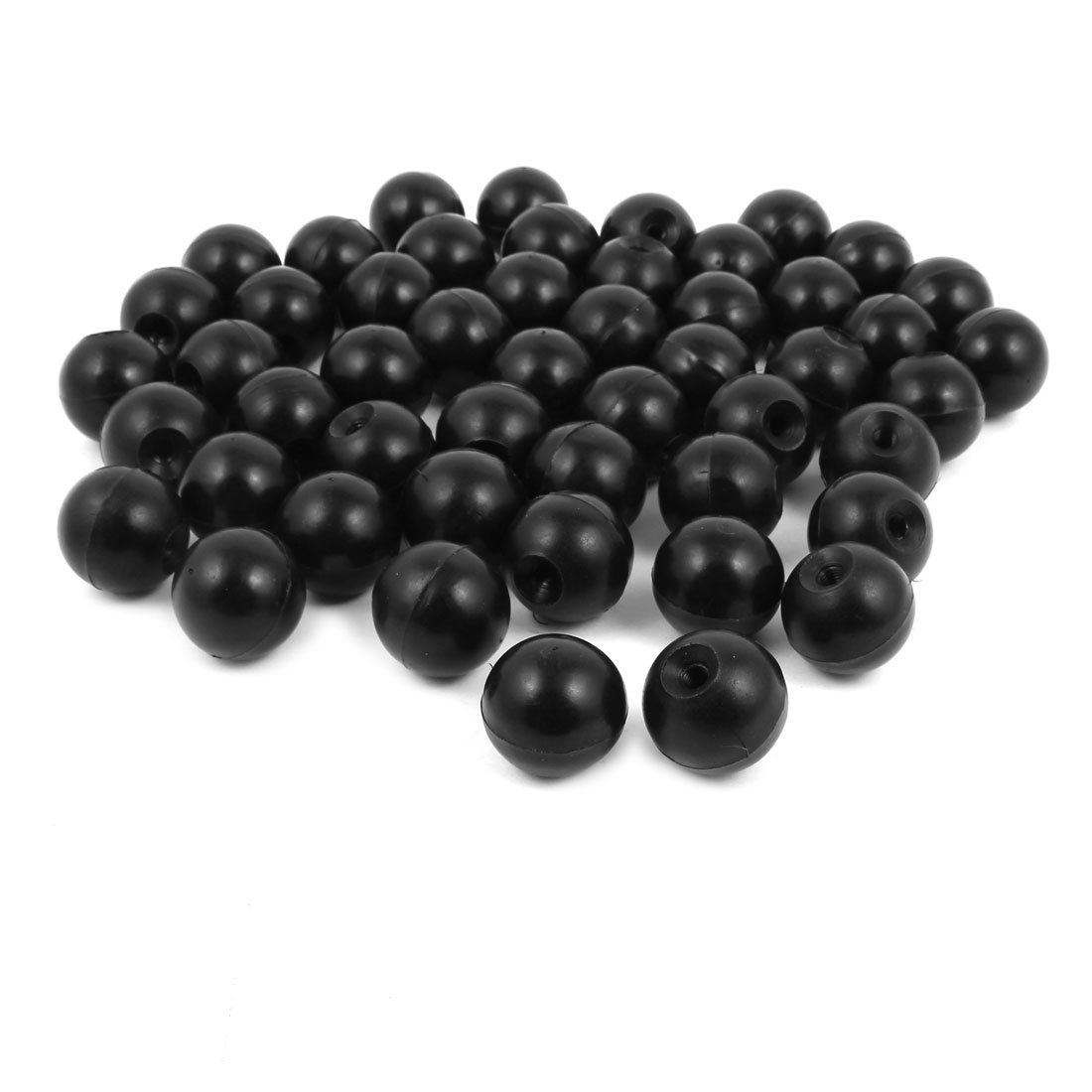 50Pcs Black Plastic Round Handle Ball Knob M6 Threaded 30mm Dia Machine Tools