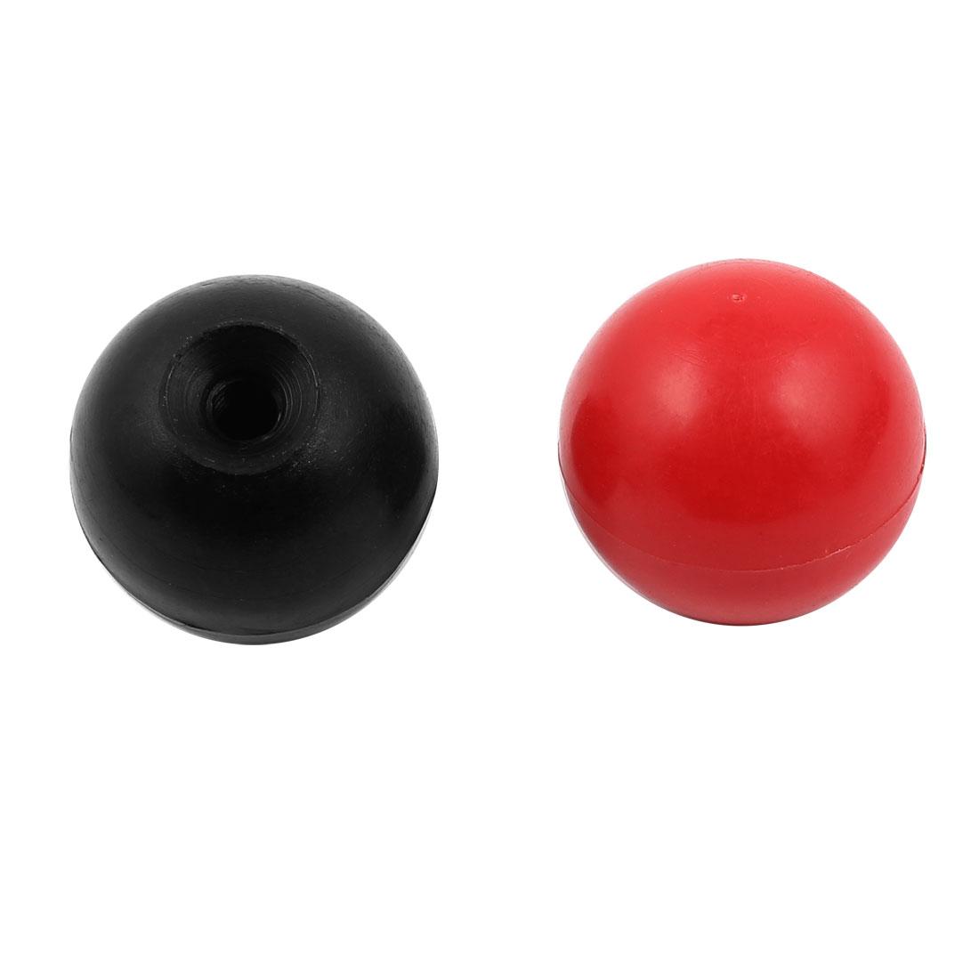 2Pcs Plastic Round Handle Ball Knob M6 Threaded 30mm Dia Mixed Color