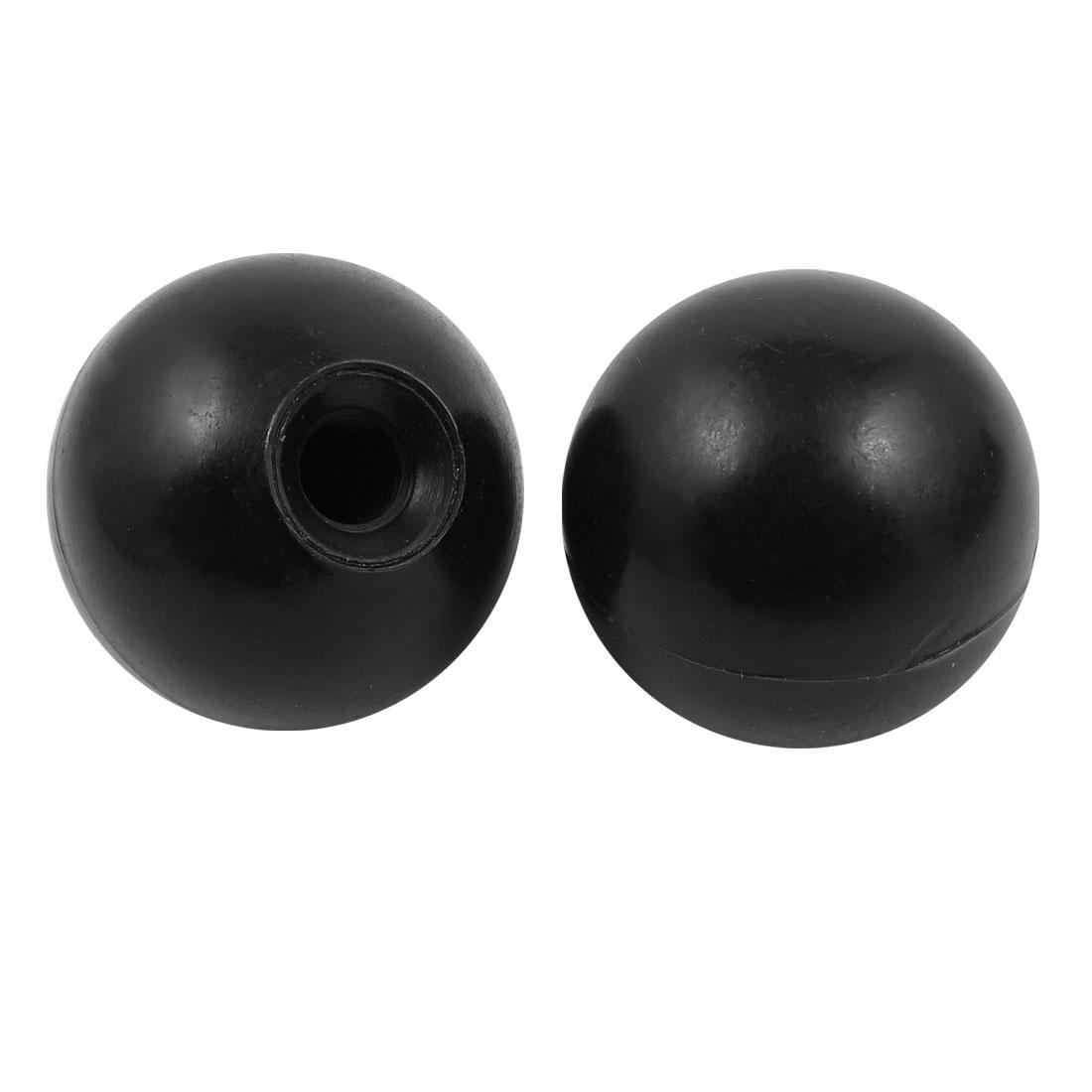 2Pcs Plastic Round Handle Ball Knob M10 Threaded 40mm Dia Machine Tools Black