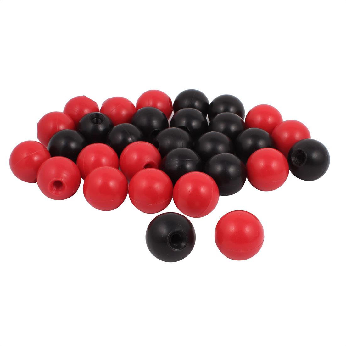 30 Pcs M10 x 40mm Plastic Ball Machine Tool Accessories Console Handle Black Red