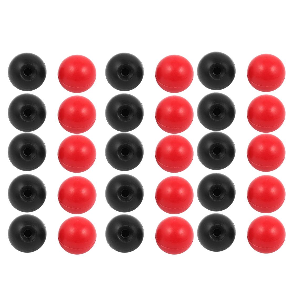 30Pcs Plastic Round Handle Ball Knob M8 Threaded 35mm Dia Mixed Color