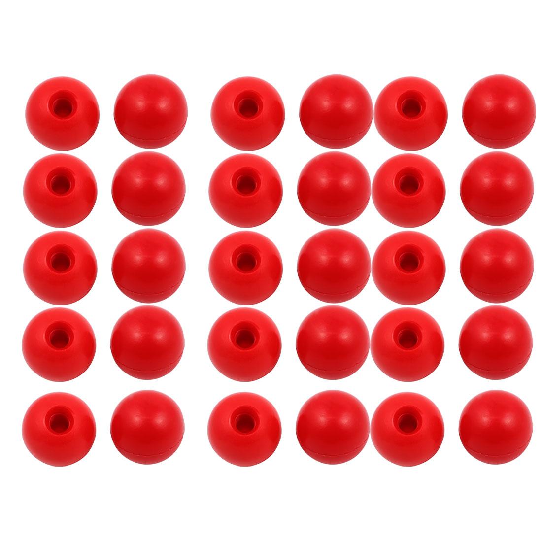 30Pcs Red Plastic Round Handle Ball Knob M10 Threaded 35mm Dia Machine Tools