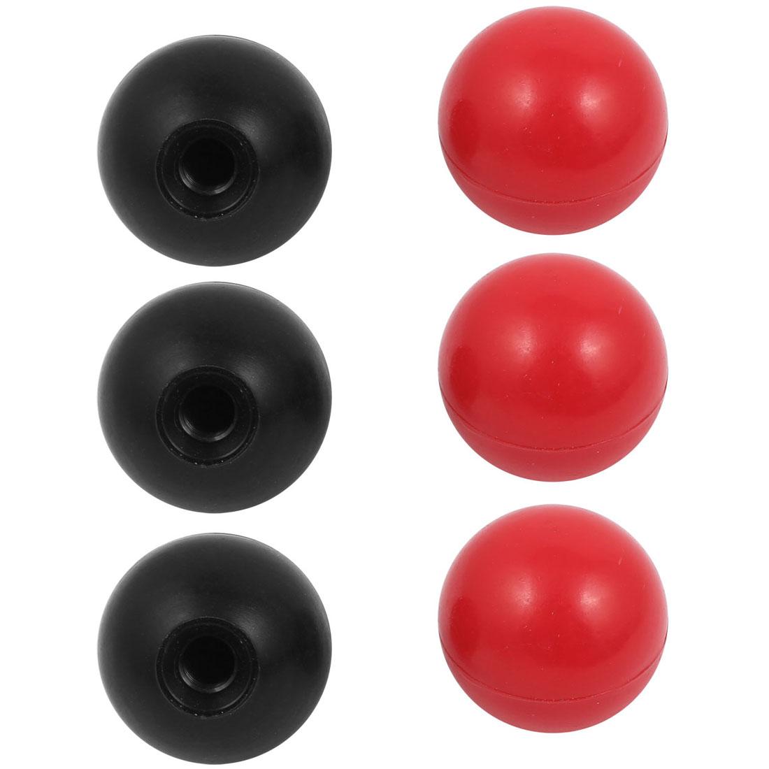 6 Pcs M10 x 35mm Plastic Ball Machine Tool Accessories Console Handle Black Red