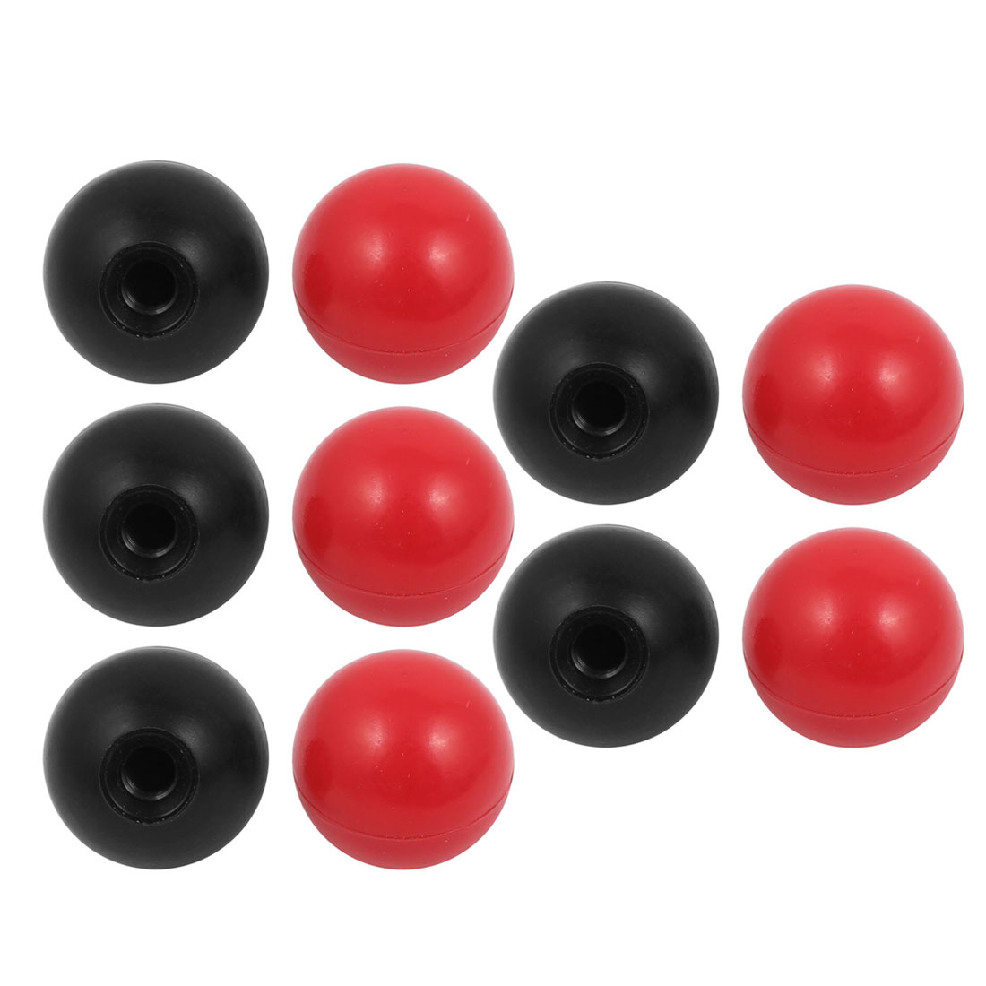 10 Pcs M10 x 35mm Plastic Ball Machine Tool Accessories Console Handle Black Red