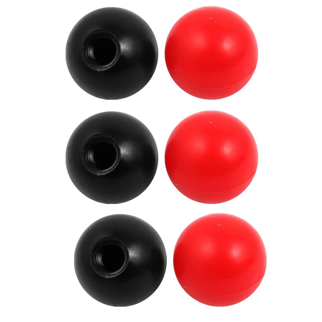 6Pcs Plastic Round Handle Ball Knob M12 Threaded 40mm Dia Mixed Color