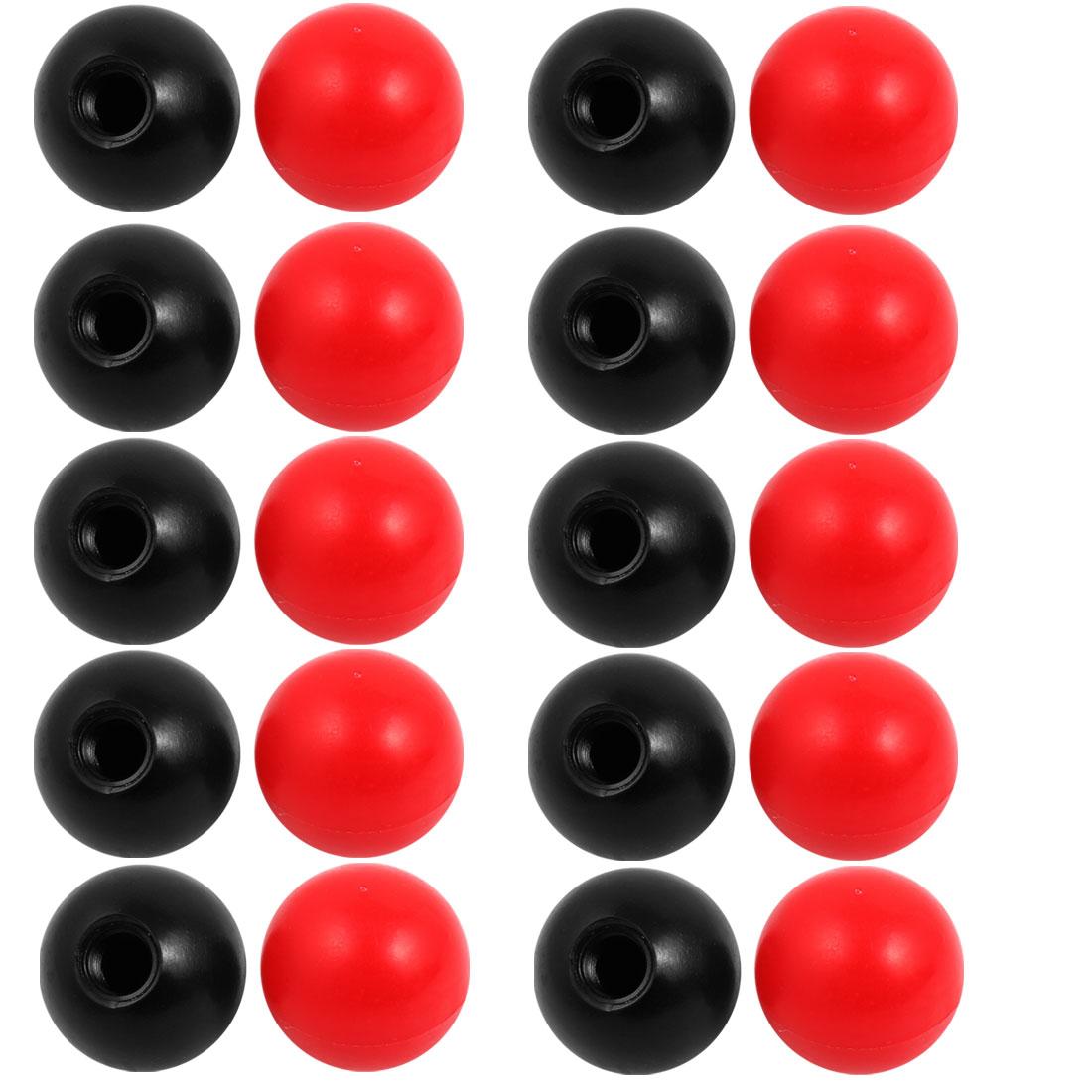 20Pcs Plastic Round Handle Ball Knob M12 Threaded 40mm Dia Mixed Color