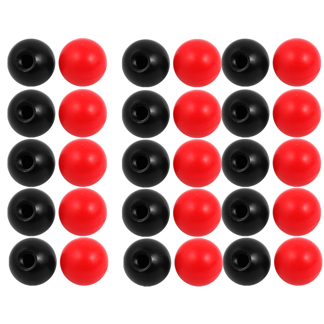 30Pcs Plastic Round Handle Ball Knob M12 Threaded 40mm Dia Mixed Color
