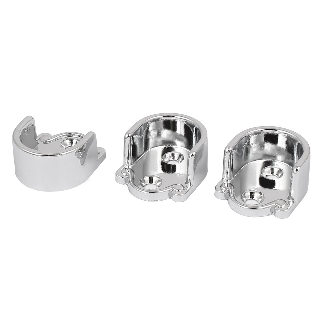 Wardrobe Closet Zinc Alloy Rail Rod End Bracket Support Silver Tone 22mm 3pcs