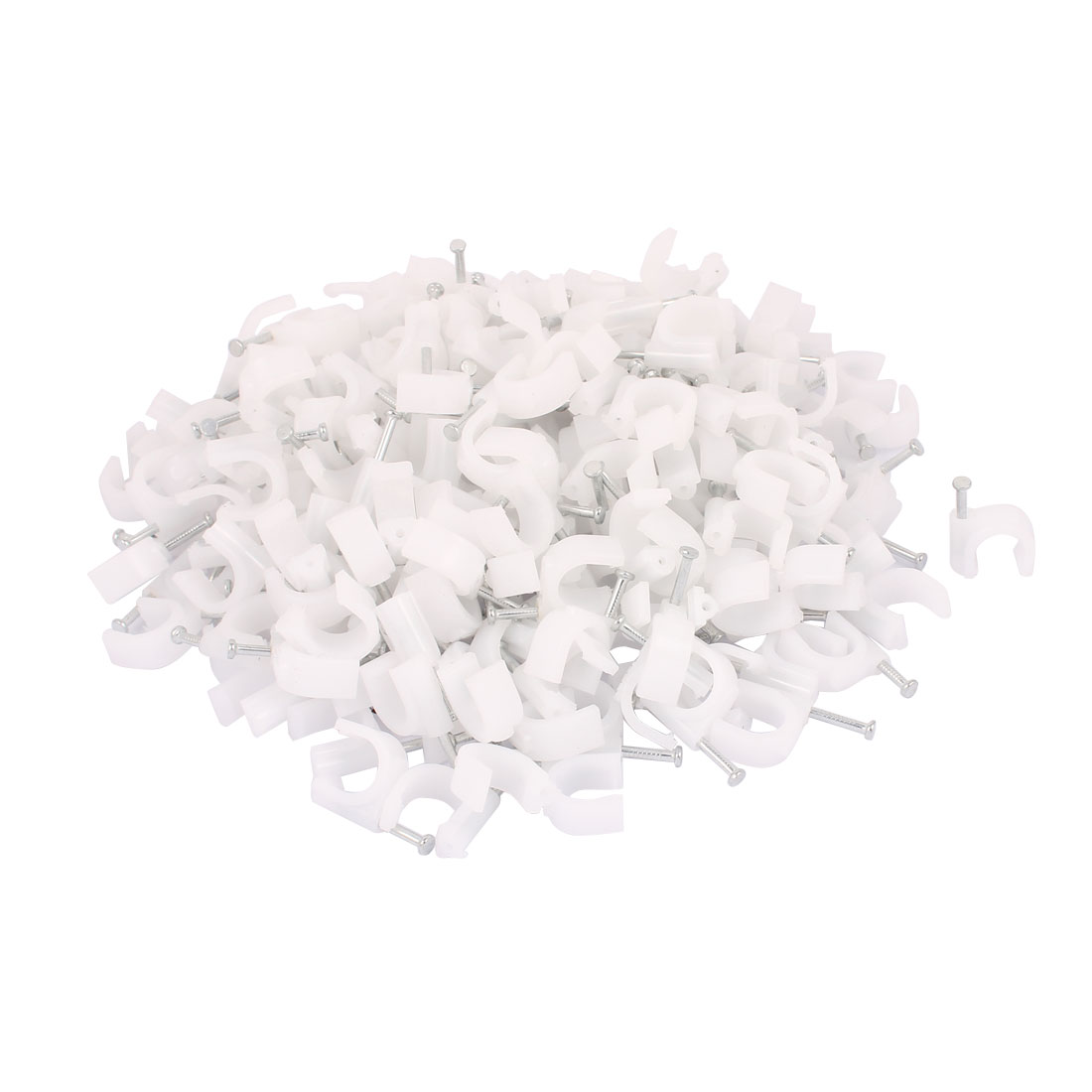 250 Pcs Wall Insert Inner Width 14mm Diameter Circle Cable Nail Clips White