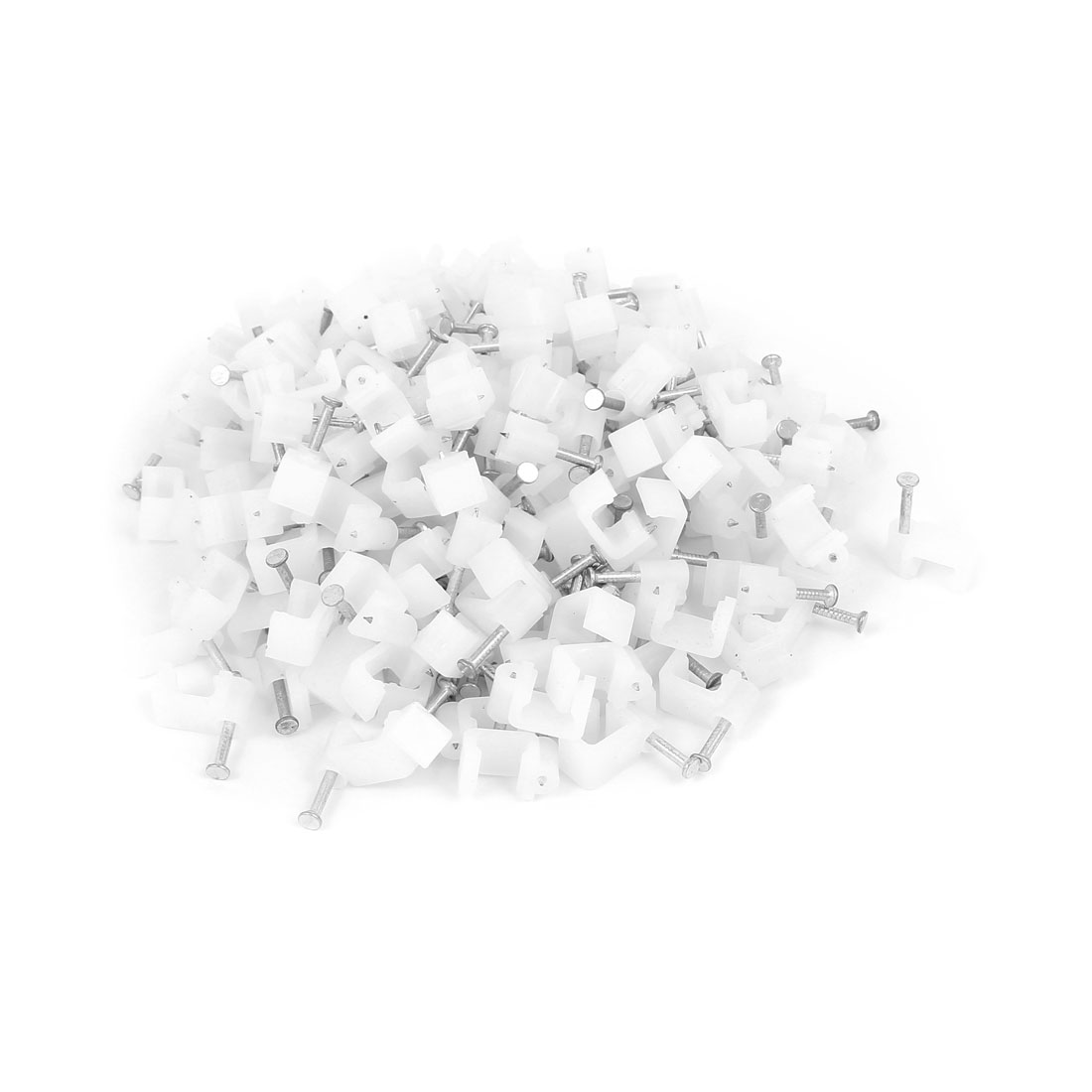 200 Pcs 8mm Width Flat Nail Coax Fixing Cable Clips Coaxial Taks Wire White