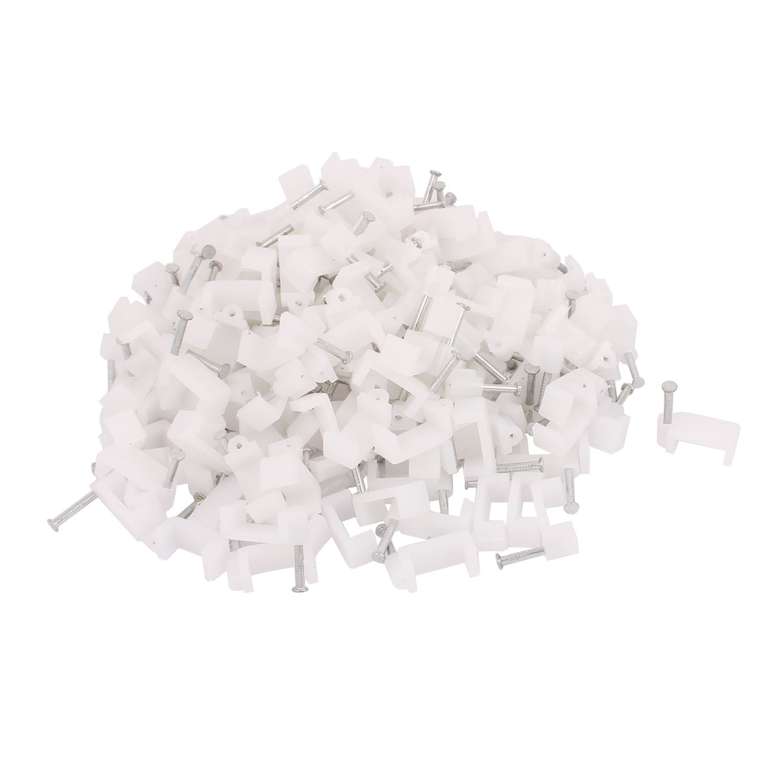 200 Pcs 12mm Width Flat Nail Coax Fixing Cable Clips Coaxial Taks Wire White