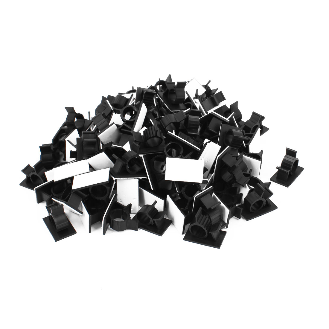 100Pcs Self Adhesive Adjustable Wire Cable Ties Clamps Sticker Clips Black 12.5mm