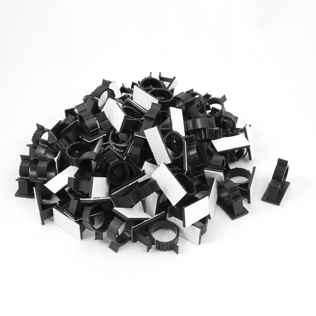 100Pcs Self Adhesive Adjustable Wire Cable Ties Clamps Sticker Clips Black 25.4mm