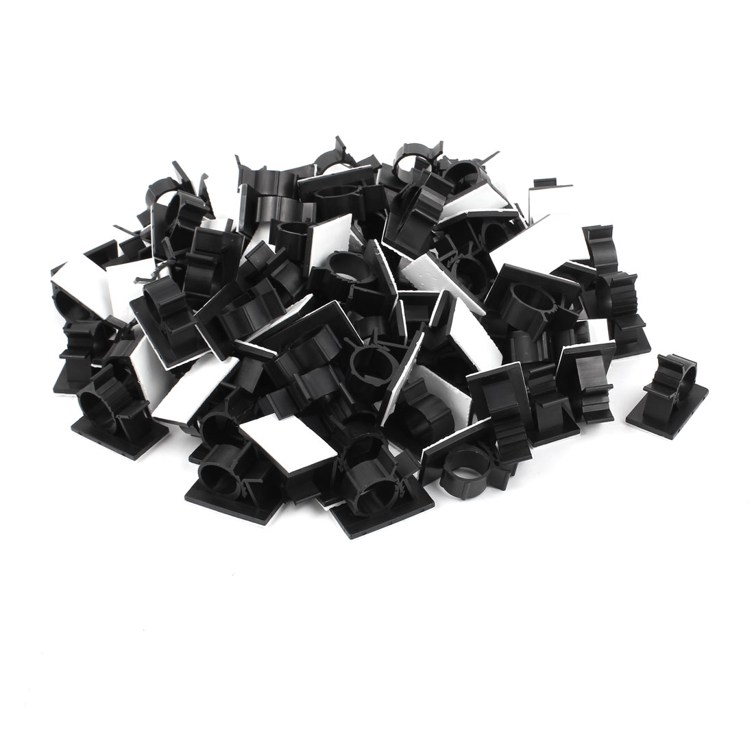 100Pcs Self Adhesive Adjustable Wire Cable Ties Clamps Sticker Clips Black 20.1mm