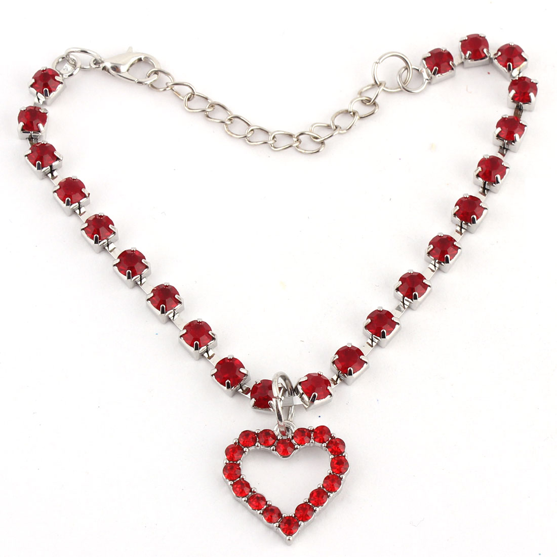 Dog Metal Beads Rhinestone Inlaid Heart Shaped Pendant Necklace Red