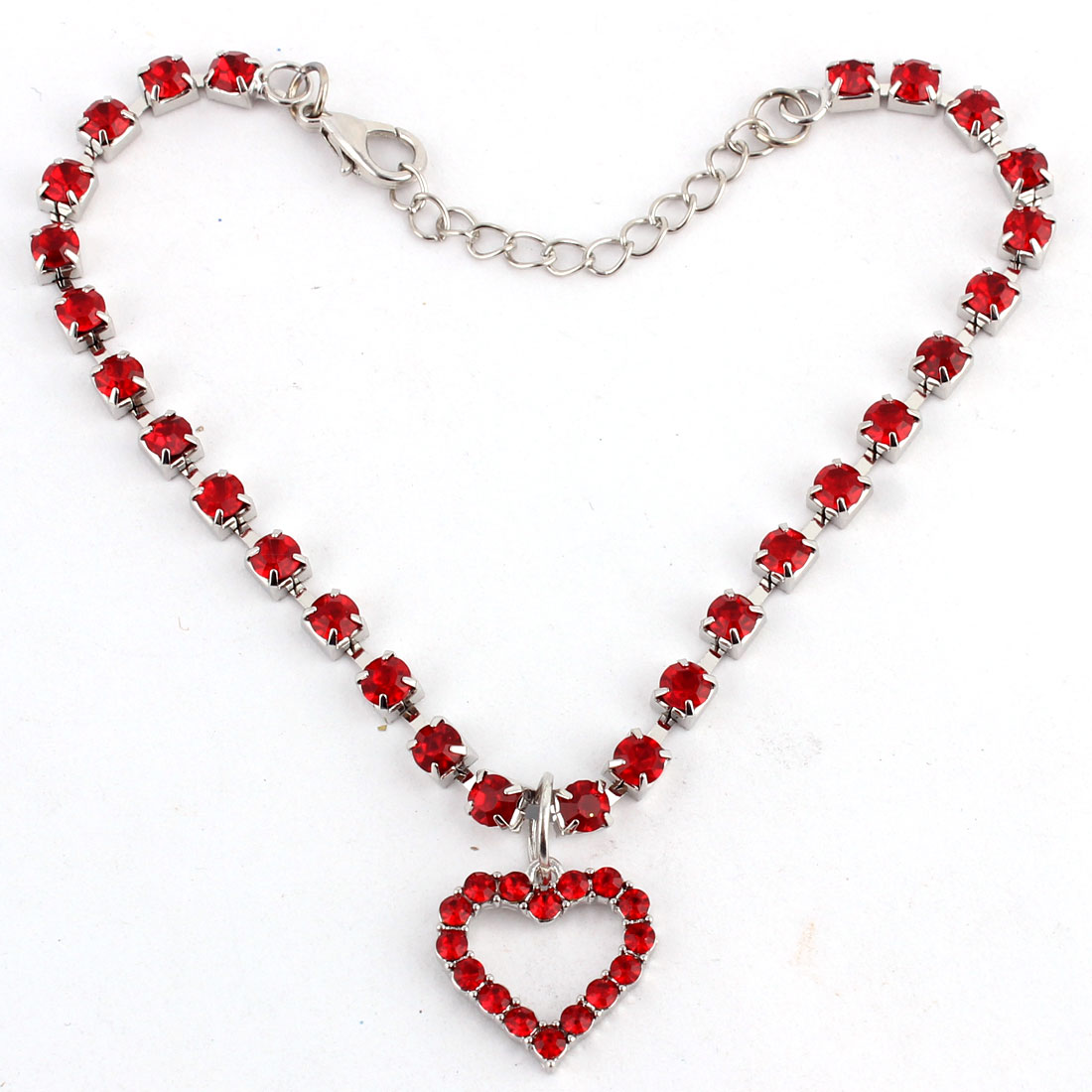 Dog Metal Beads Linked Rhinestone Inlaid Heart Shaped Pendant Necklace Red