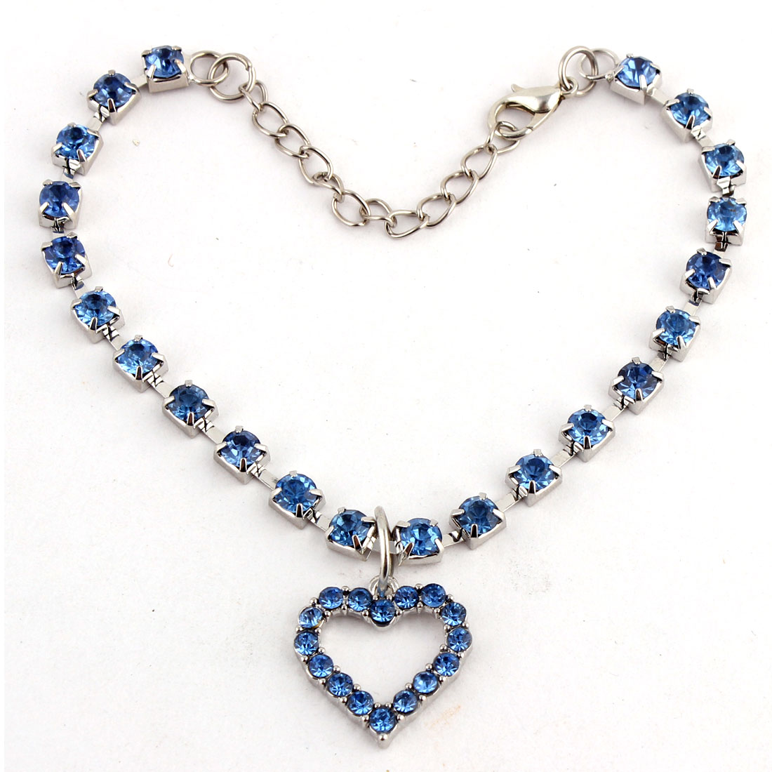 Dog Metal Beads Linked Rhinestone Inlaid Heart Shaped Pendant Necklace Blue