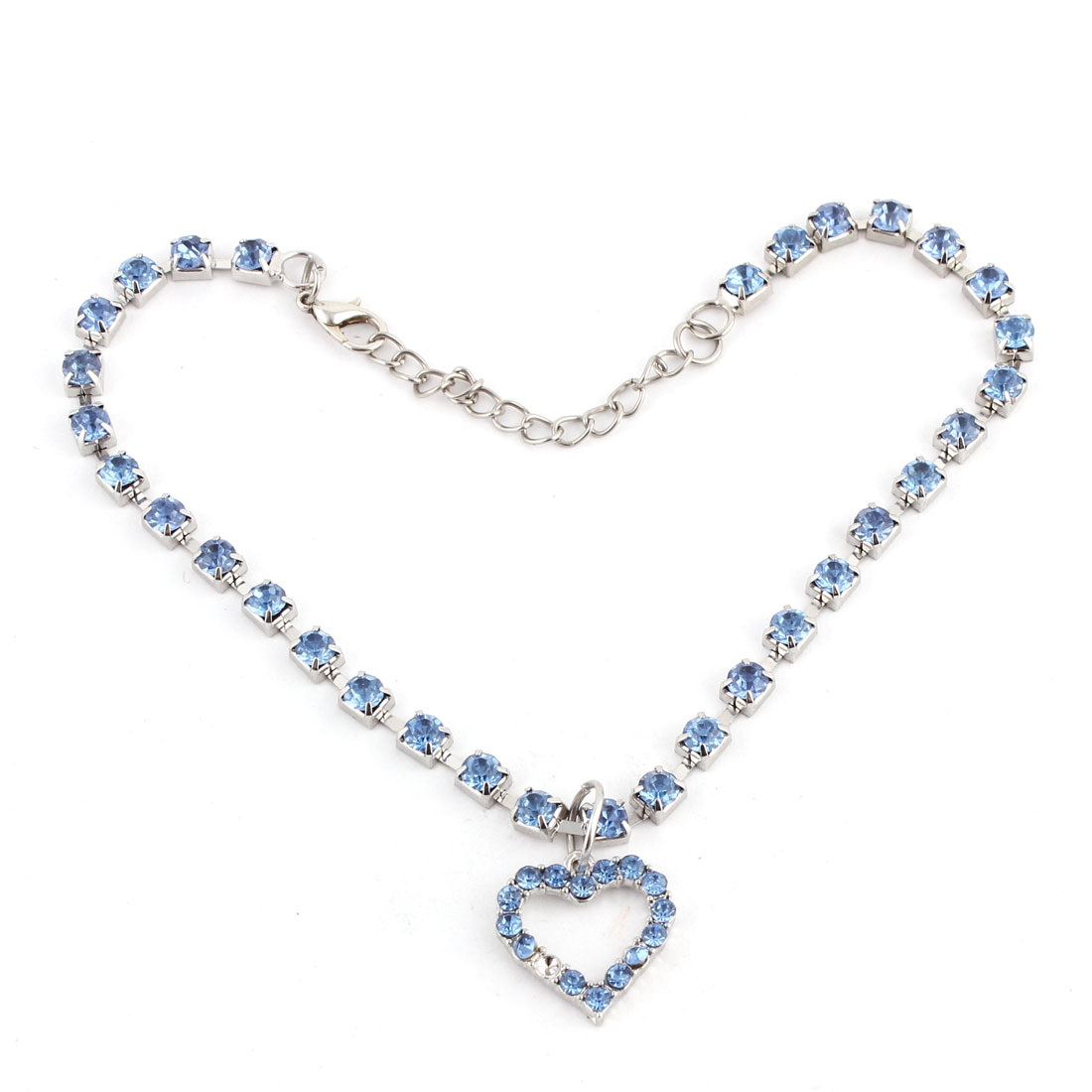 Dog Metal Beads Linked Rhinestone Inlaid Heart Shaped Pendant Decor Necklace Blue