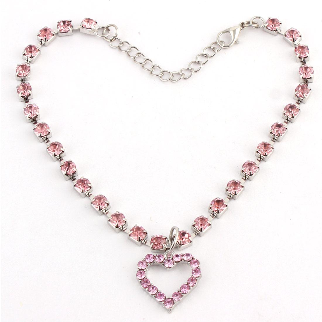 Dog Metal Beads Linked Rhinestone Inlaid Heart Shaped Pendant Necklace Pink
