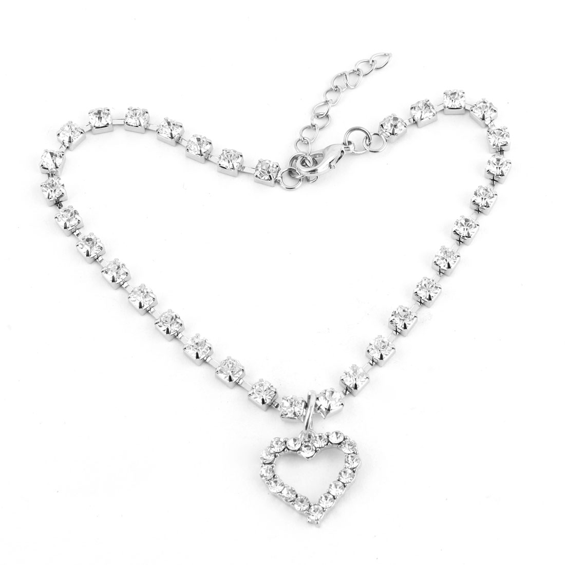 Dog Metal Beads Linked Rhinestone Inlaid Heart Shaped Pendant Necklace White