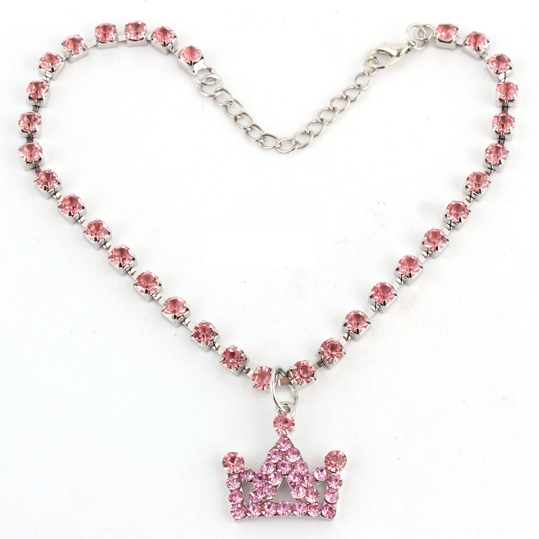 Dog Metal Beads Linked Rhinestone Inlaid Crown Shaped Pendant Decor Necklace Pink